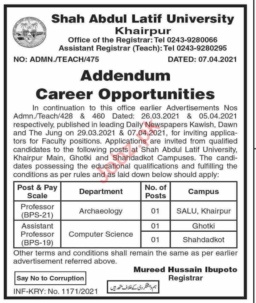Shah Abdul Latif University SALU Khairpur Jobs 2021