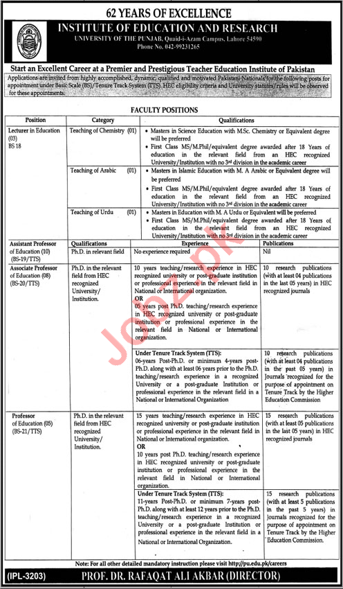 Institute of Education & Research PU Lahore Jobs 2021