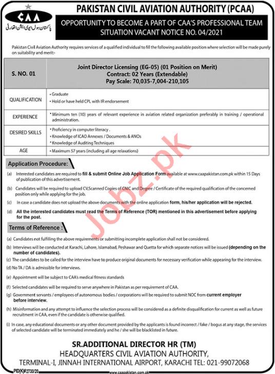 PCAA Karachi Jobs 2021 for Joint Director Licensing