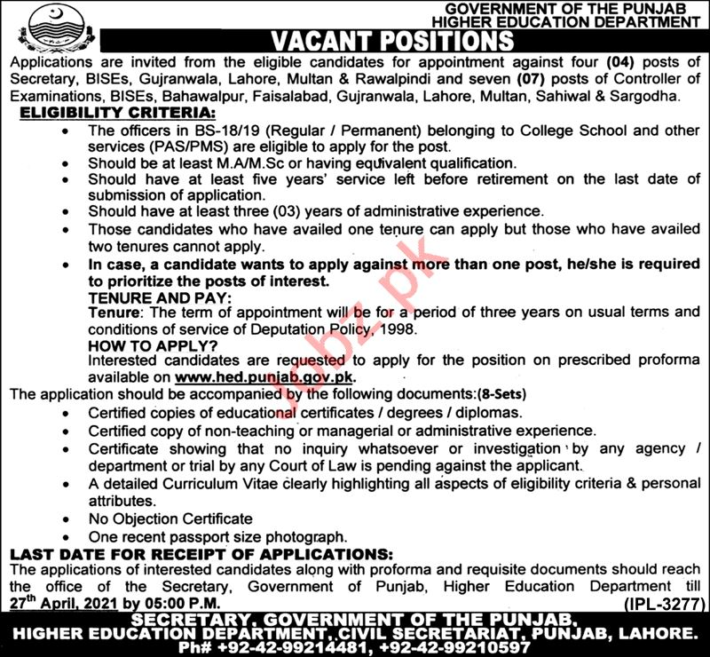 Higher Education Department HED Punjab Jobs 2021