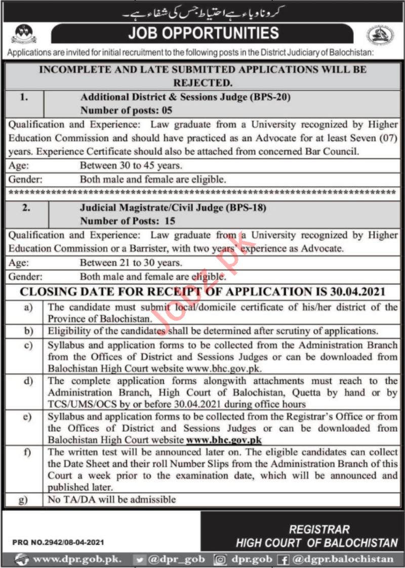 High Court of Balochistan Jobs 2021 for Judicial Magistrate