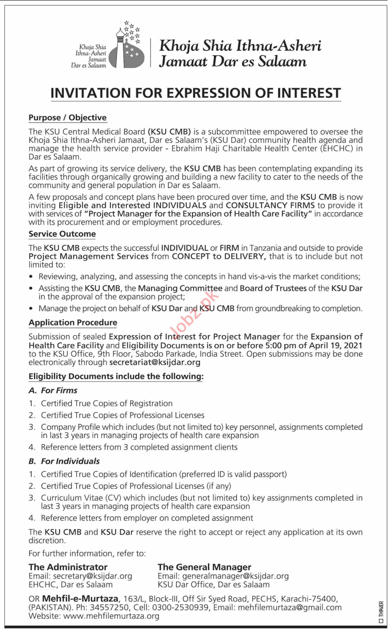 Khoja Shia Ithna Asheri Jamaat Dar es Salaam Jobs 2021