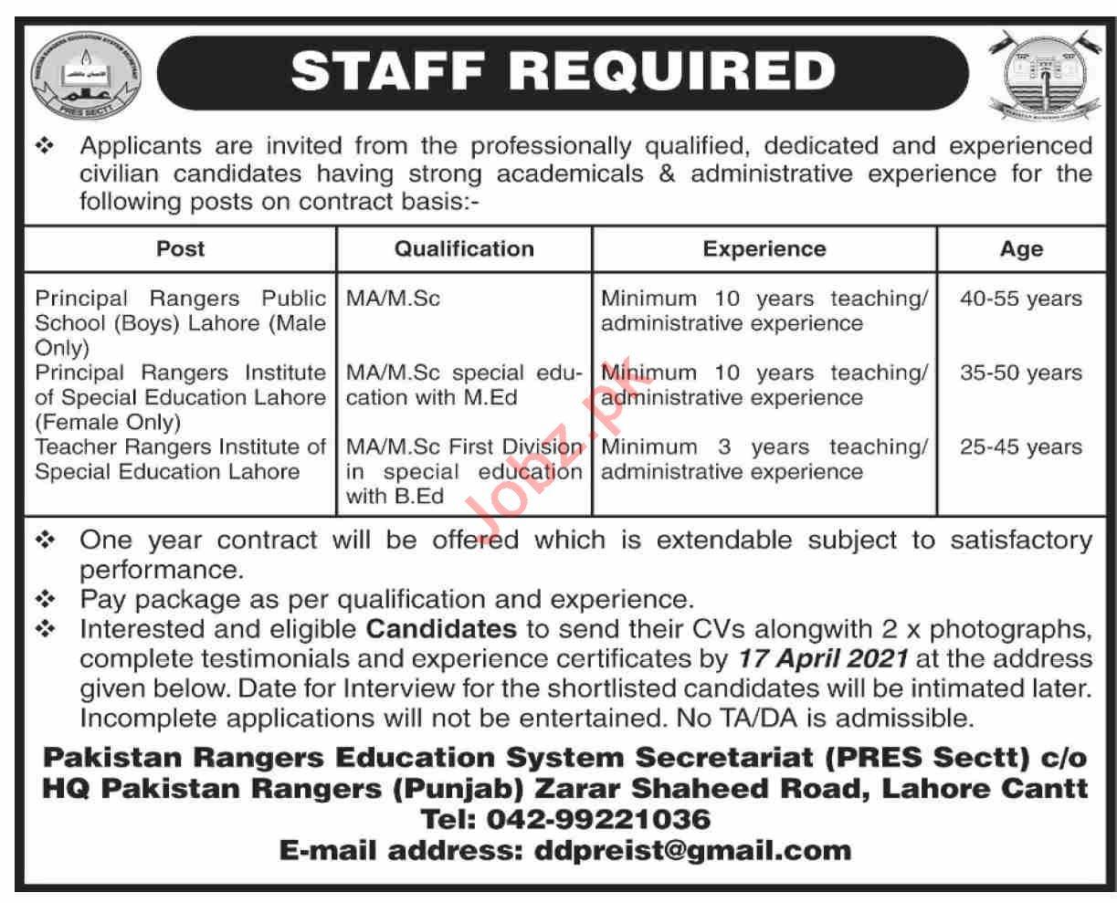 Pakistan Rangers Education System Secretariat PRES Jobs 2021