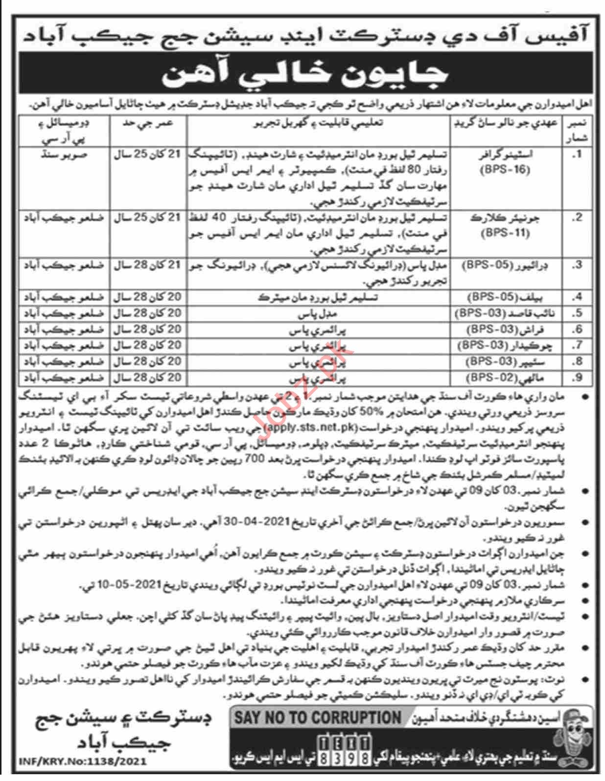District & Session Court Jacobabad Jobs 2021 Driver & Clerk