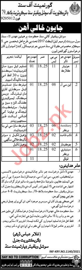 Directorate of Social Welfare Sindh Jobs for NCI & Chowkidar
