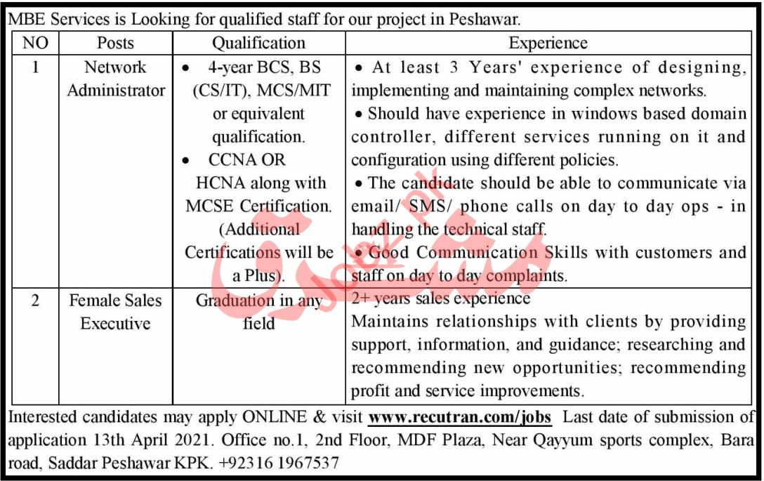 MBE Services Peshawar Jobs 2021 for Network Administrator