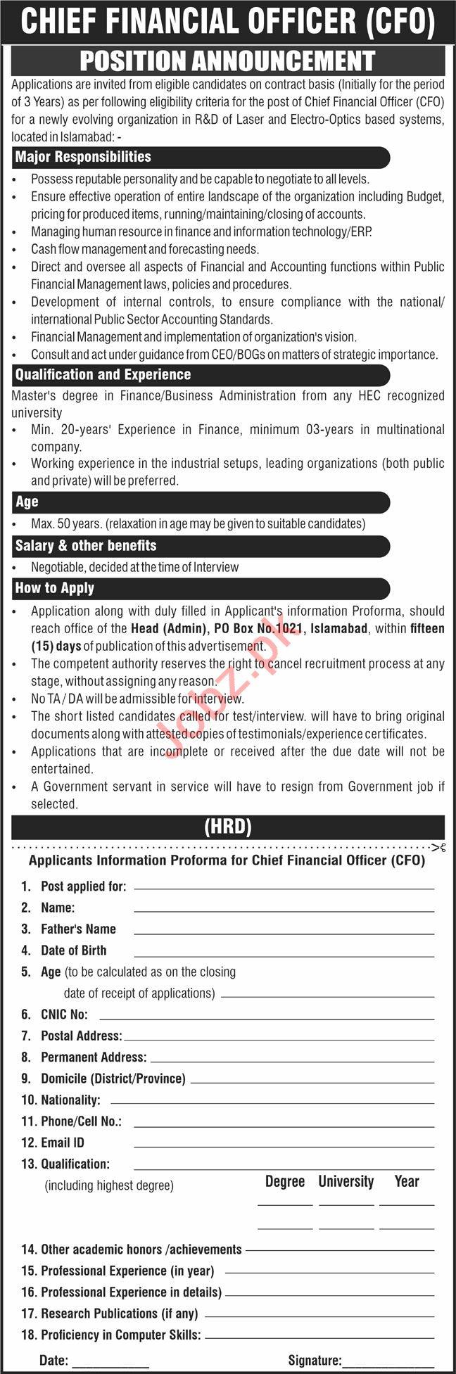 P O Box No 1021 Islamabad Jobs 2021 Chief Financial Officer
