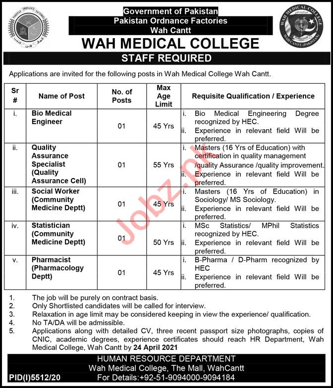 Wah Medical College Wah Cantt Jobs 2021 for Social Worker
