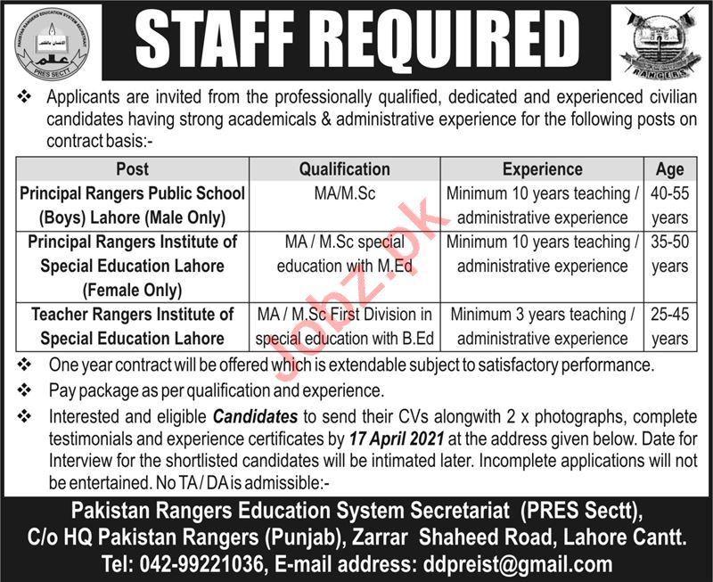 Rangers Public School Lahore Jobs 2021 for Principal