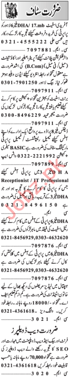 Plant Operator & Accountant Jobs 2021 in Lahore