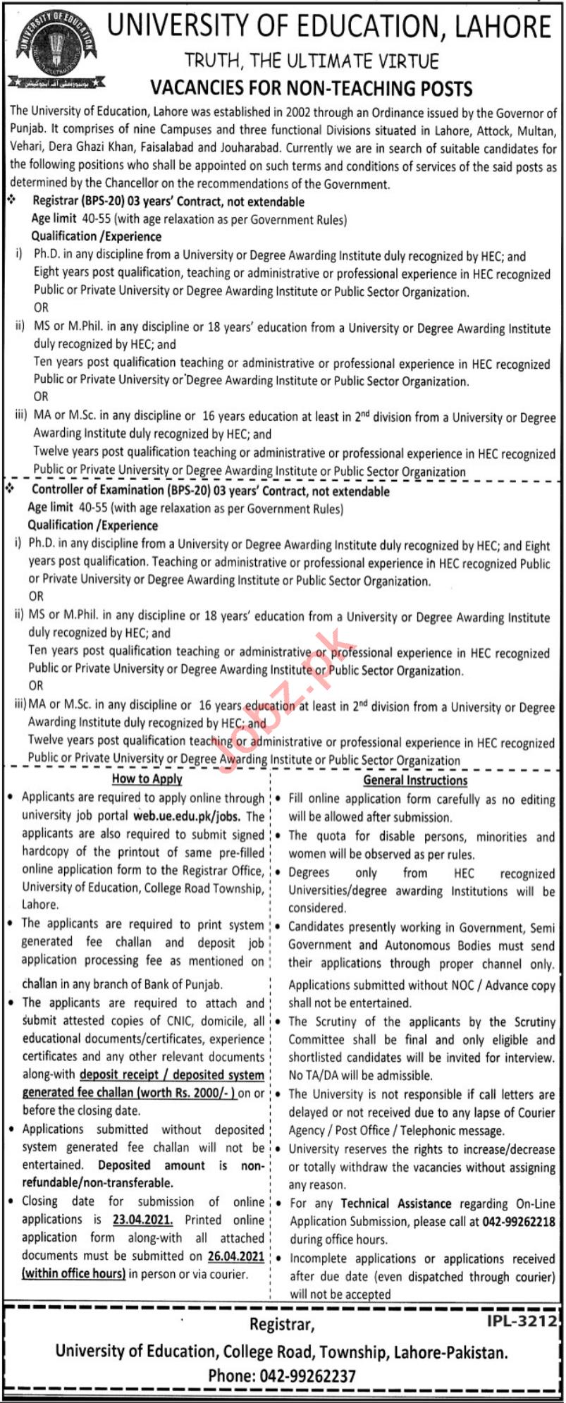 University of Education Lahore Jobs 2021 for Registrars