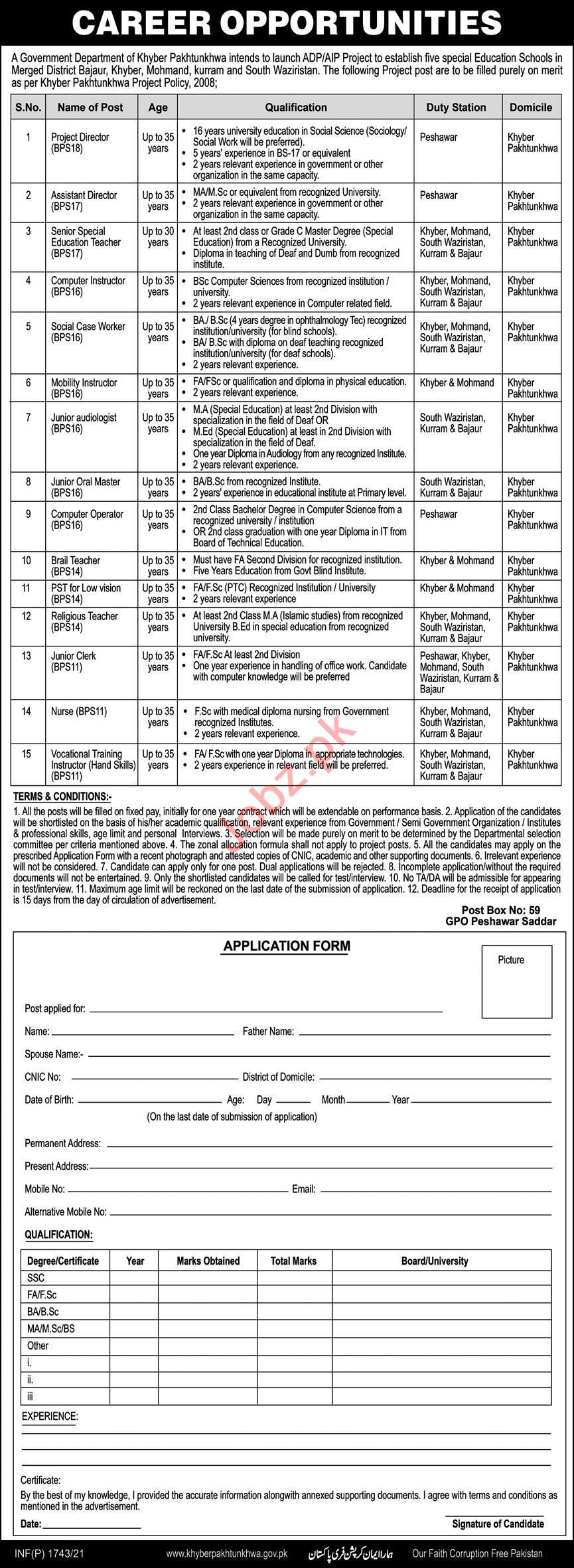 Post Box No 59 GPO Peshawar Jobs 2021 for Project Director