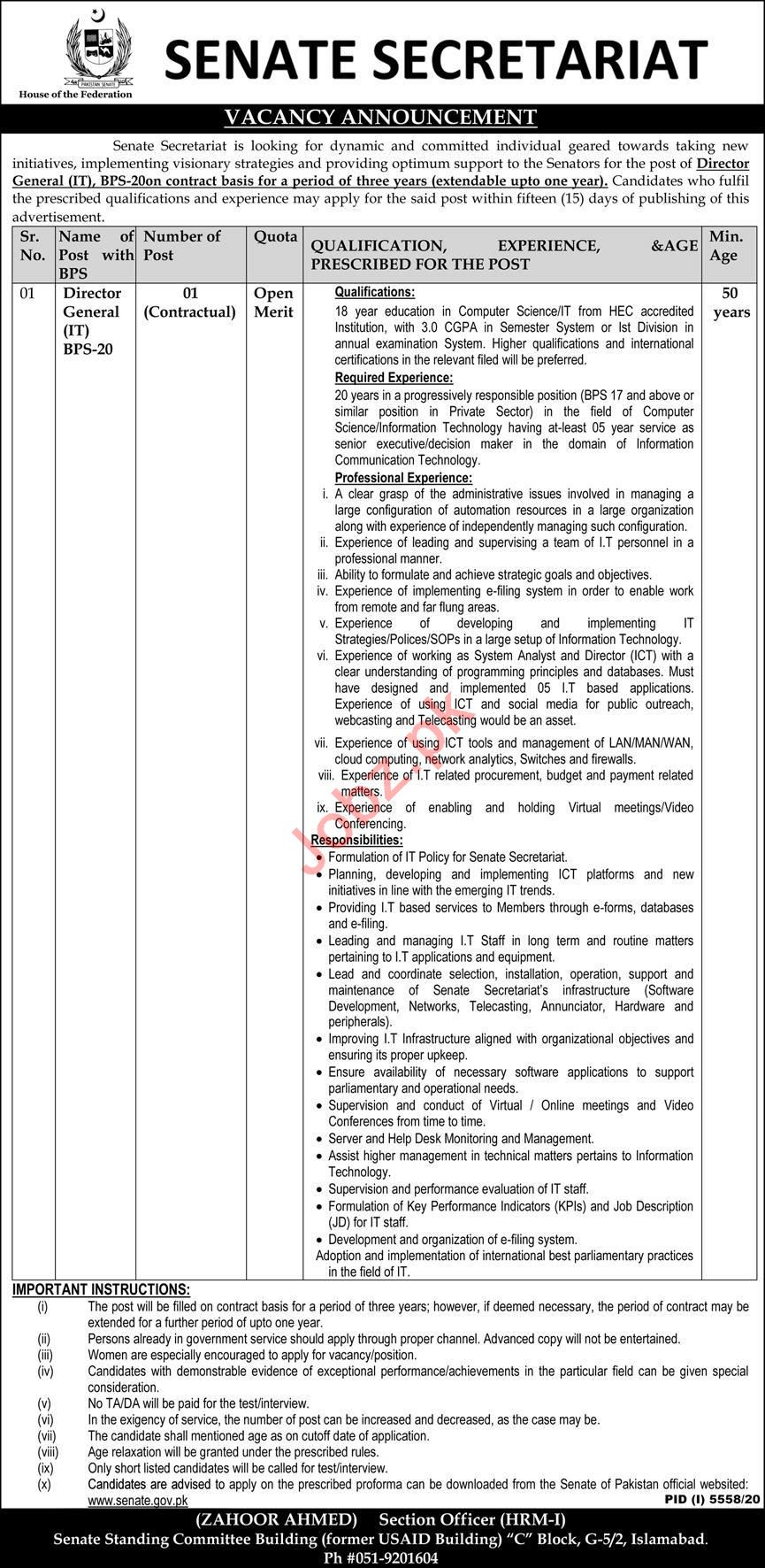 Director General Jobs 2021 in Senate Secretariat Islamabad