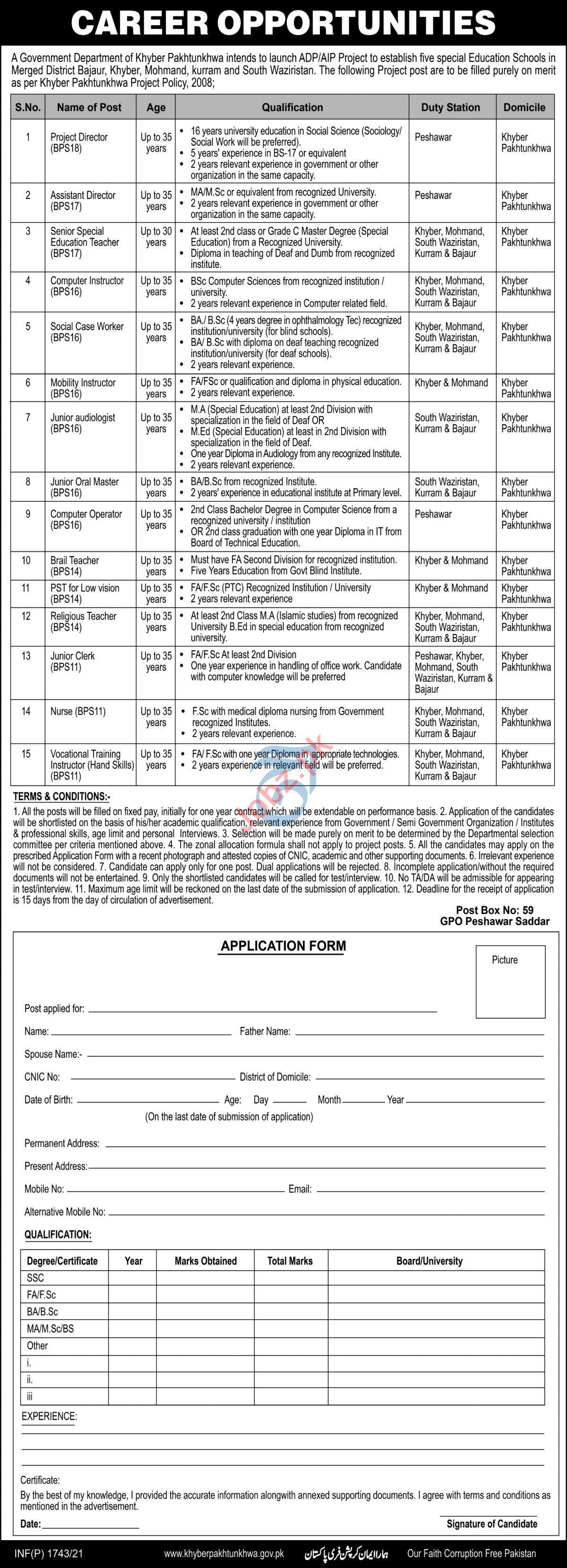 Special Education Department KPK Jobs 2021 for Instructors