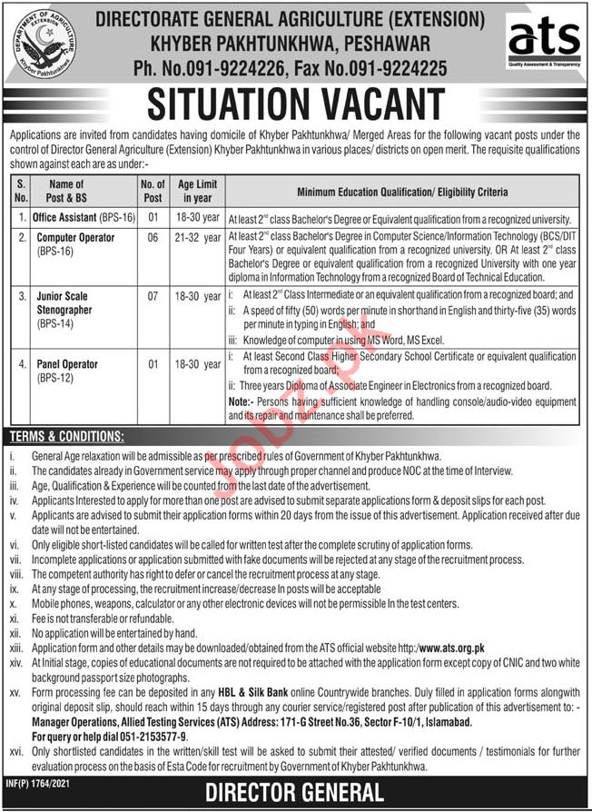 Directorate General Agriculture Extension Peshawar Jobs 2021