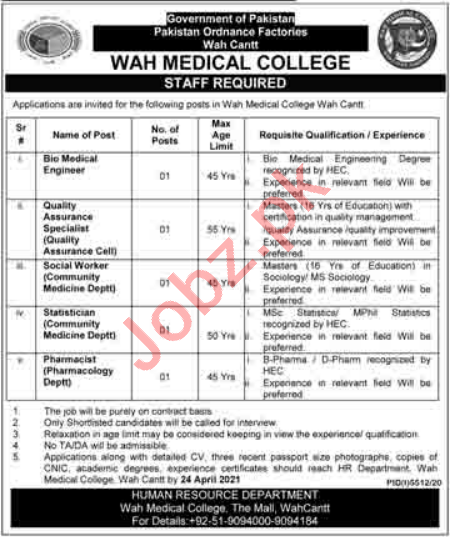 Wah Medical College POF Wah Cantt Jobs 2021 for Statistician