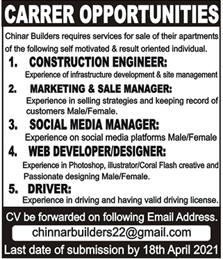 Chinar Builders Private Limited JObs 2021 in Peshawar