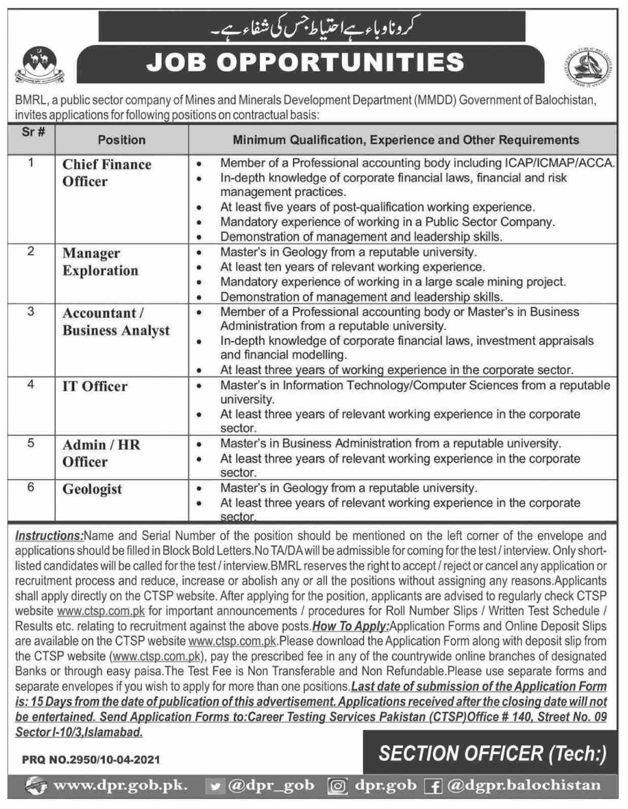 Mines and Minerals Development Department Jobs 2021