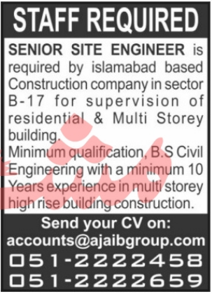 Construction Company Jobs 2021 in Islamabad
