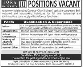Iqra University Islamabad Campus Jobs 2021