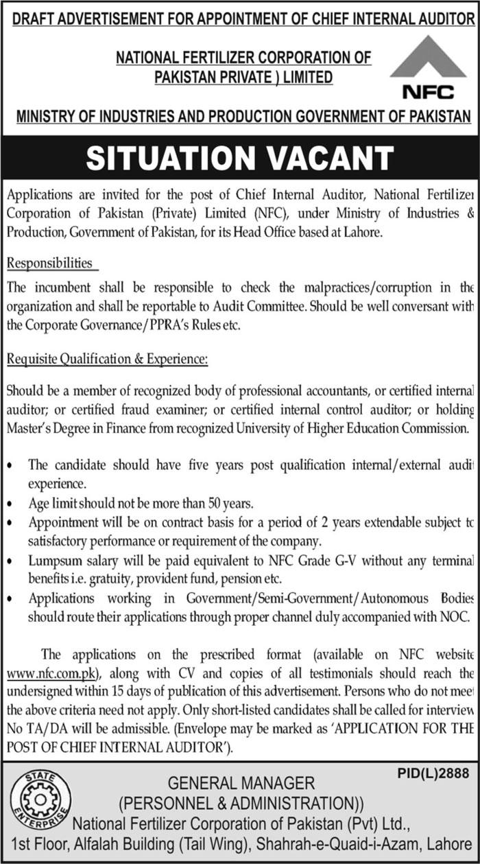 National Fertilizer Corporation of Pakistan Jobs 2021
