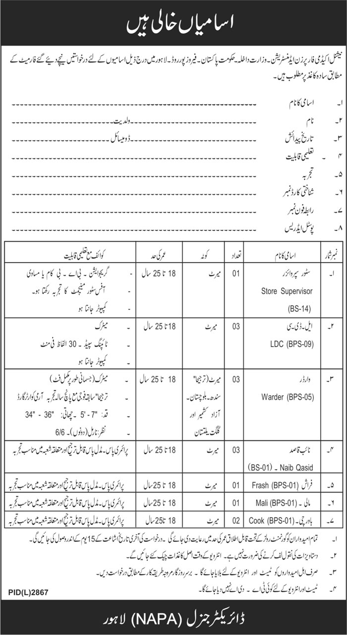 National Academy for Performing Arts Jobs 2021 in Lahore