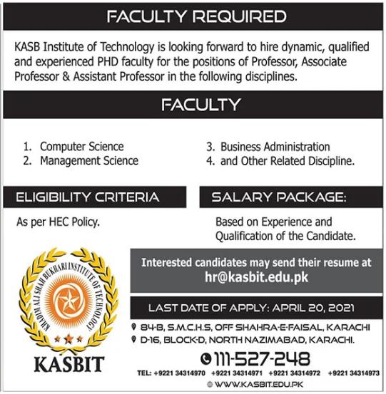 Khadim Ali Shah Bukhari Institute of Technology Jobs 2021
