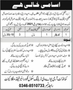 Commandant Army UAV Training School Jobs 2021