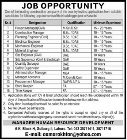 Construction Company Jobs 2021 in Karachi