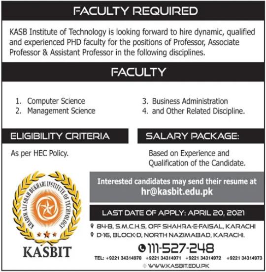 KASBIT Faculty Jobs 2021 in Karachi