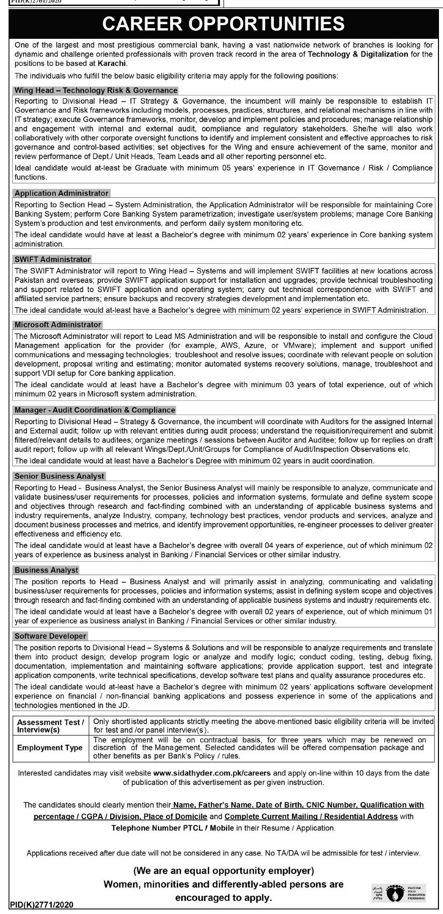Commercial Bank Jobs 2021 in Karachi