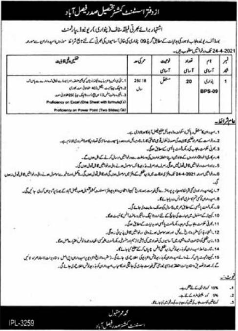 Revenue Department Jobs 2021 For Patwari in Faisalabad