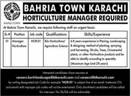 Bahria Town Karachi Job 2021 For Horticulture Manager