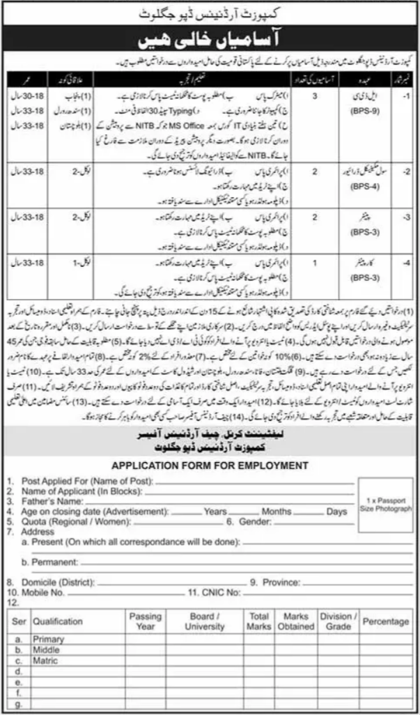 Pak Army Composite Ordnance Depot Jaglot Jobs 2021