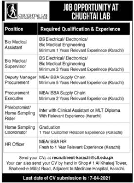 Chughtai Lab Jobs 2021 in Karachi