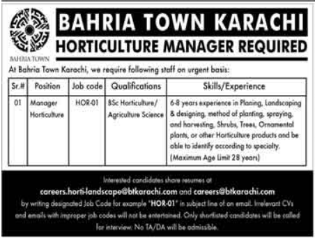 Bahria Town Job 2021 For Horticulture Manager in Karachi
