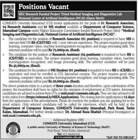 Comsats University Jobs 2021 in Islamabad