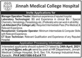 Jinnah Medical College Hospital Jobs 2021