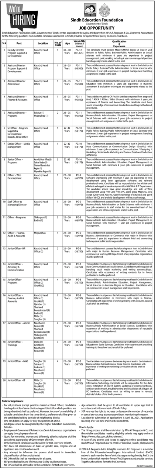 Sindh Education Foundation SEF Jobs 2021
