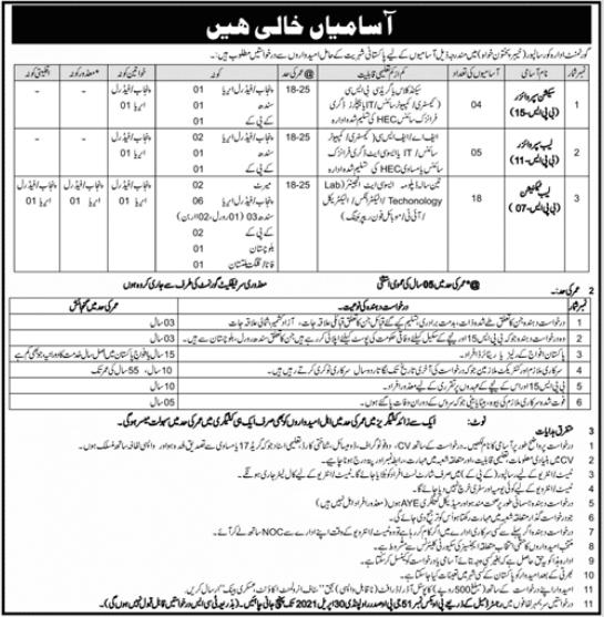 P O Box NO 51 GPO Rawalpindi Jobs 2021 in Risalpur