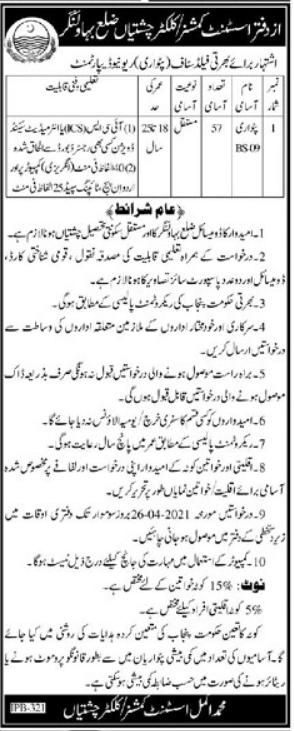Revenue Department Jobs 2021 in Bahawalnagar