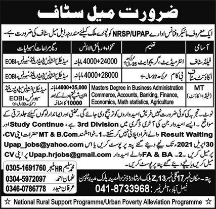 Microfinance Organization Jobs 2021 in Faisalabad