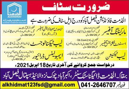 Al Khidmat Foundation Jobs 2021 in Faisalabad