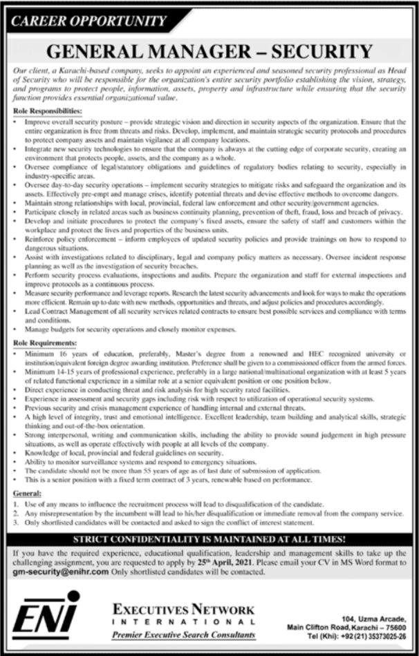 Executive Network International ENI Jobs 2021