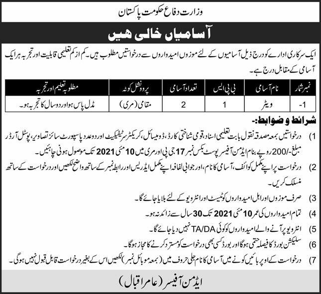 Ministry of Defence Jobs 2021 For Waiters in Murree