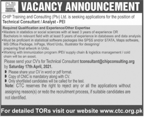 Chip Training and Consulting CTC Jobs 2021