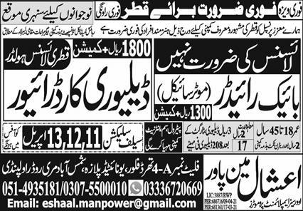 Motorcycle Rider & Delivery Car Driver Jobs 2021 in Qatar