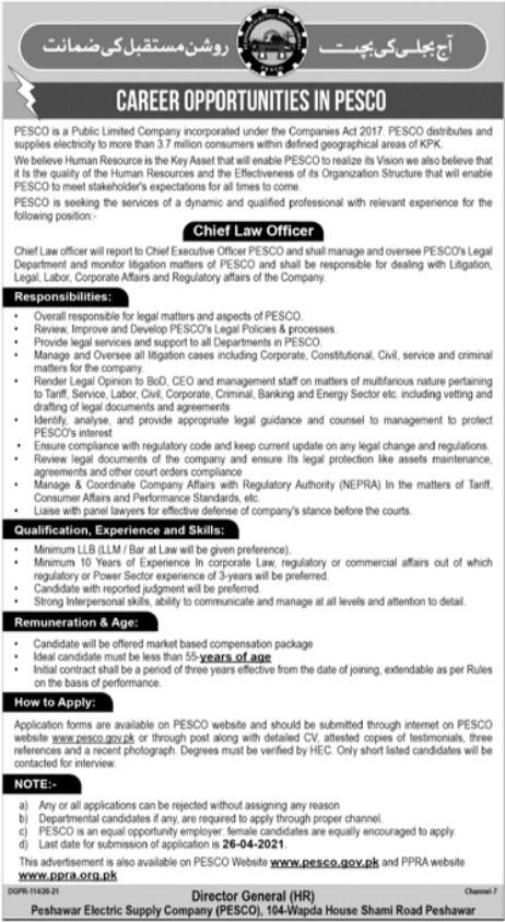 PESCO Chief Law Officer Jobs 2021 in Peshawar