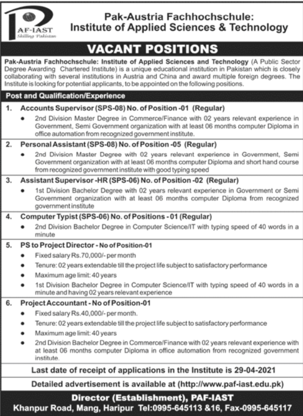 PAF IAST Jobs 2021 in Haripur
