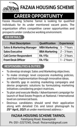 Fazaia Housing Scheme Jobs 2021 in Rawalpindi